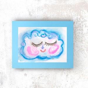 chmurka obraz na ścianę, rysunek z chmurką, chmurka, dekoracja, grafika do dziecięcego pokoju, bajkowa akwarela