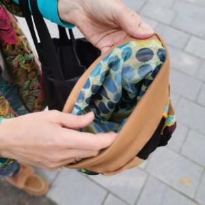 Czapka patchworkowa damska na podszewce z wizerunkiem frida kahlo
