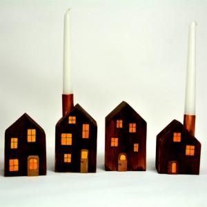 Drewniane domki dekoracyjne – zestaw 5