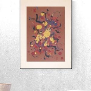 abstrakcja w ciepłych kolorach, nowoczesna dekoracja na ścianę, grafika do salonu, obraz do sypialni