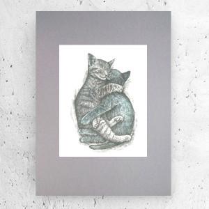 nowoczesny rysunek do salonu, obraz ceipłe kolory, oryginalna abstrakcja, grafika do loftu
