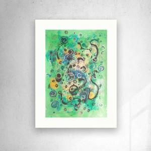 abstrakcja do salonu, minimalizm rysunek, zielona grafika na ścianę, złoty rysunek, kosmos obraz 30x40