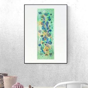 złoto zielona dekoracja na ścianę, abstrakcyjny rysunek, grafika do sypialni, nowoczesny obraz do loftu