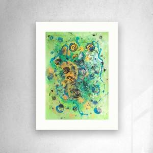 abstrakcja grafika do domu, zielono złoty rysunek A3, minimalizm obraz 30x40, nowoczesna dekoracja na ścianę, grafika do loftu