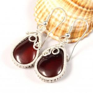 Bursztyn, Srebrne kolczyki z bursztynem bałtyckim, ręcznie wykonane, prezent dla niej, prezent dla mamy, prezent urodzinowy, biżuteria