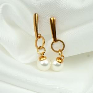 Pozłacane kolczyki z perłami Swarovskiego c923a