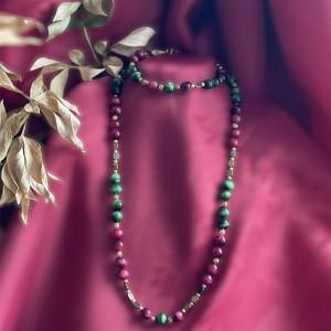 Komplet biżuterii z tygrysim okiem i hematytem