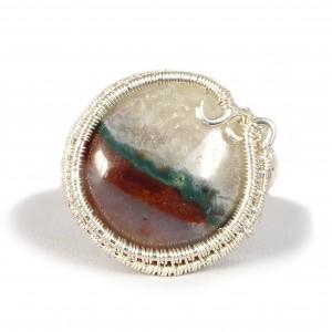 Agat, Srebrny regulowany pierścionek z agatem biało czerwono zielonym regulowany, prezent dla niej prezent dla mamy, prezent dla kobiety handmade pomysł na prezent
