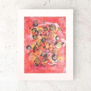 nowoczesny rysunek do salonu, abstrakcyjny obrazek, złoto czerwona grafika na ścianę, minimalizm dekoracja do loftu