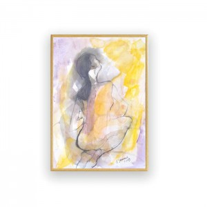 rysunek do sypialni, nowoczesna grafika, malowany ręcznie obraz z kobietą, akt szkic