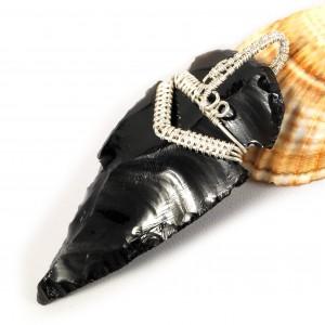 Obsydian, srebrny wisior ze smoczym szkłem, prezent dla niego, prezent dla niej, unisex, biżuteria ręcznie robiona, wire wrapped, handmade