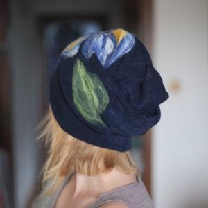 czapka wełniana damska granat