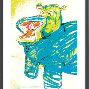 Plakat z hipopotamem, obrazek do pokoju chłopca, śmieszna ilustracja hipopotam