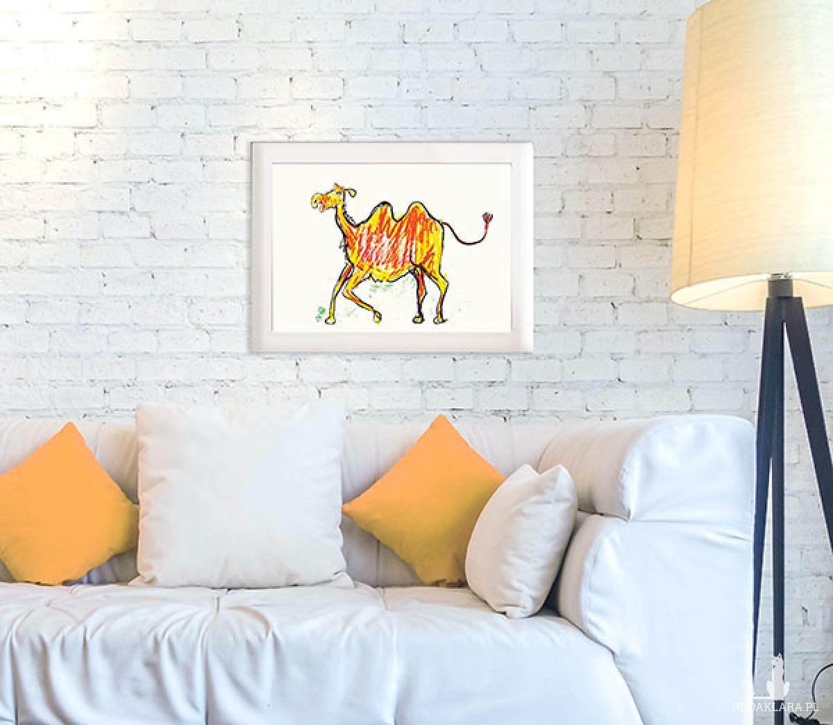 wielbłąd plakat dla dzieci, grafika do dziecięcego pokoju, plakat do pokoju chłopca