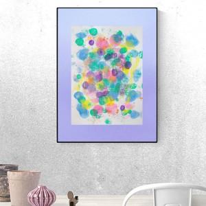 pastelowa dekoracja na ścianę, nowoczesna grafika, abstrakcja malowana ręcznie