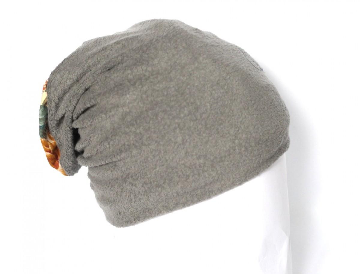 czapka damska szara-zielona kwiecista
