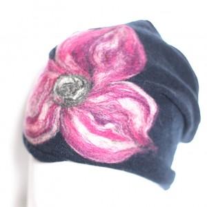 czapka granat wełniana handmade