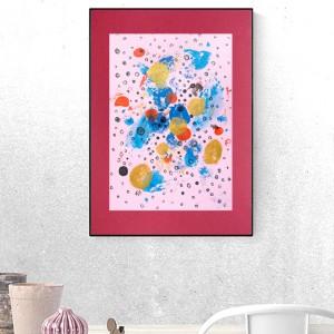 minimalistyczna grafika do sypialni, abstrakcyjna grafika na ścianę, abstrakcja malowana ręcznie