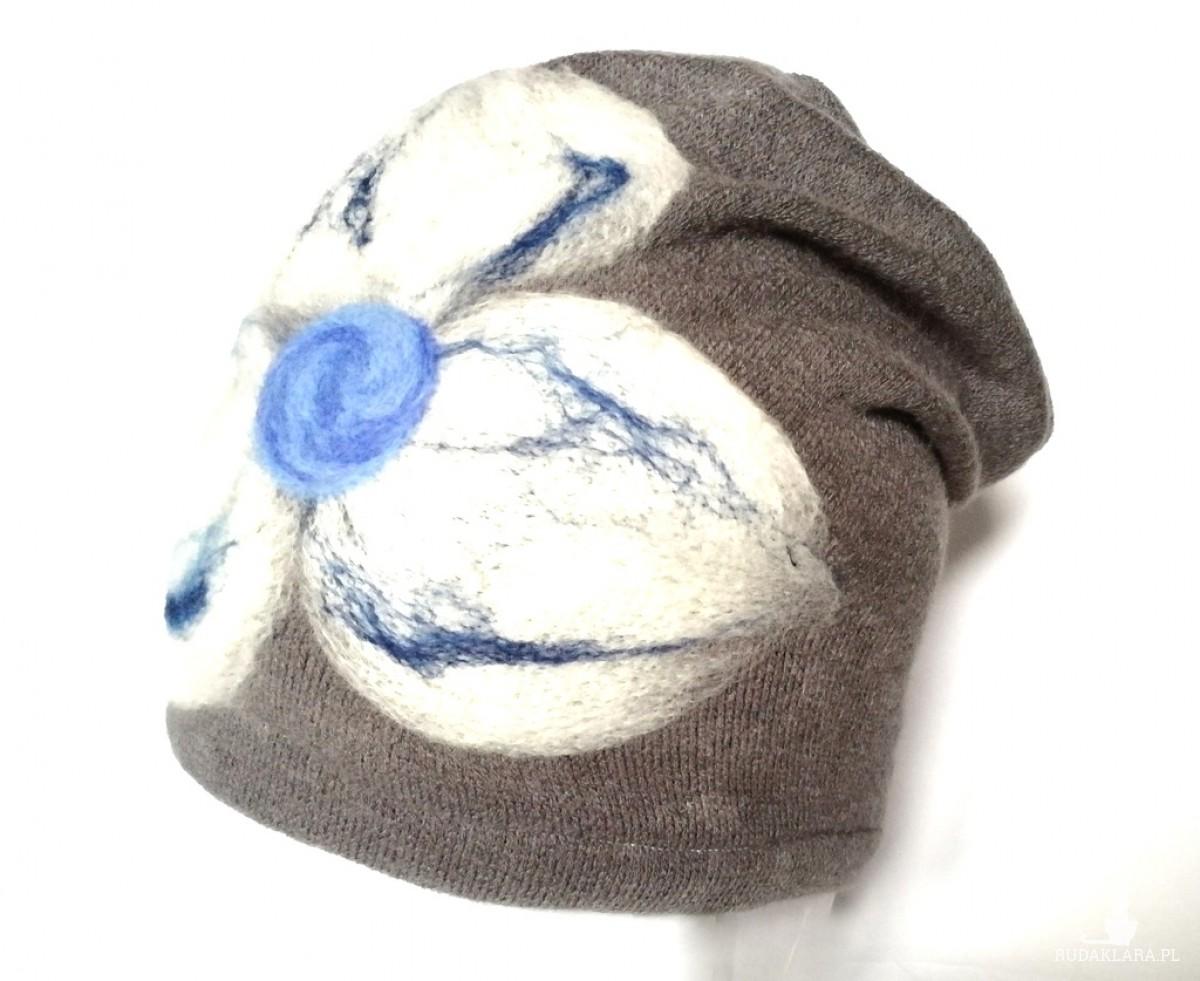 czapka szara wełniana handmade (Kopia)