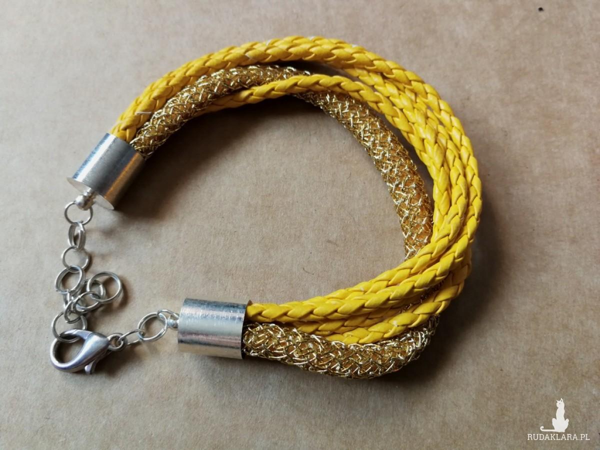 bransoletka kolorowa etno sznurkowa złota
