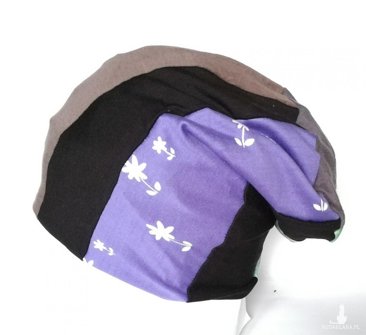 czapka smerfetka dzianina patchwork