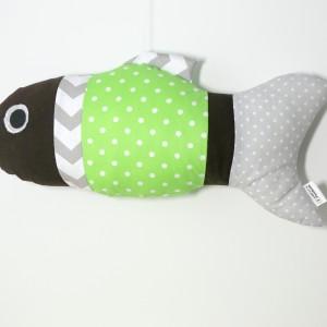 Poduszka rybka zielono-brązowa bawełna