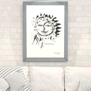 30x40 plakat słońce, księżyc plakat, biało czarny plakat do sypialni, plakat w skandynawskim stylu, grafika do pokoju