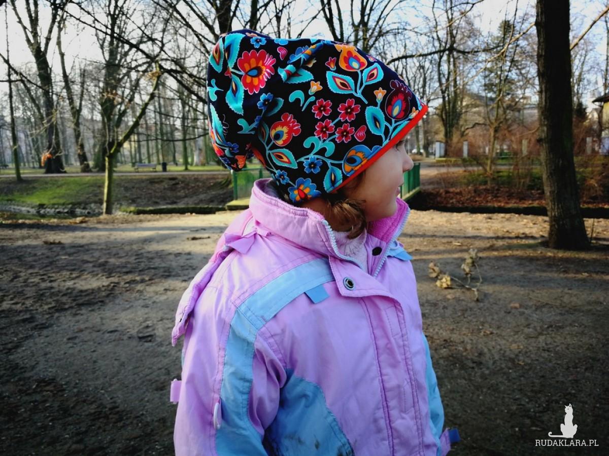 czapka ludowa dziewczęca na 2 latka