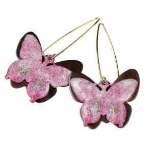 Kolczyki z różowymi motylami