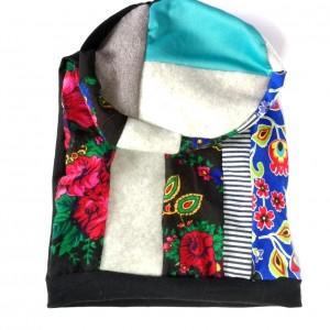 czapka damska ludowa folk patchwork