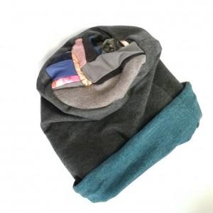 czapka dzianinowa damska szara dresowa handmade