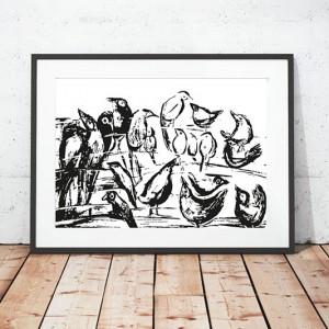 30x40 plakat z ptaszkami, biało czarny plakat ptaki, ptaszki grafika na ścianę, skandynawski plakat z ptakami