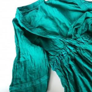 turkusowa bluzka z koronką boho