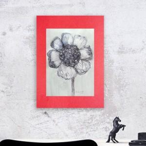 rysunek tuszem, nowoczesna grafika, kwiat rysunek biało czarny
