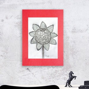 rysunek ze słonecznikiem, biało czarna grafika do pokoju