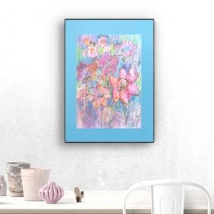 łąka obraz, pastelowy rysunek z kwiatami, obraz ręcznie malowany, kwiaty grafika do sypialni