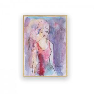 akwarela ręcznie malowana, obraz do salonu, rysunek do sypialni, kobieta obraz na ścianę