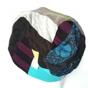 czapka damska ciepła kolorowa patchwork wełna zima