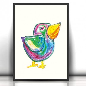 Å›mieszny plakat z ptaszkiem, ptak plakat na Å›cianÄ™, kolorowy plakat do dzieciÄ™cego pokoju, ptak grafika dla dzieci, okolorowt brazek z ptaszkiem