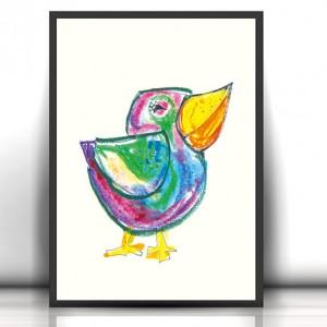 śmieszny plakat z ptaszkiem, ptak plakat na ścianę, kolorowy plakat do dziecięcego pokoju, ptak grafika dla dzieci, okolorowt brazek z ptaszkiem