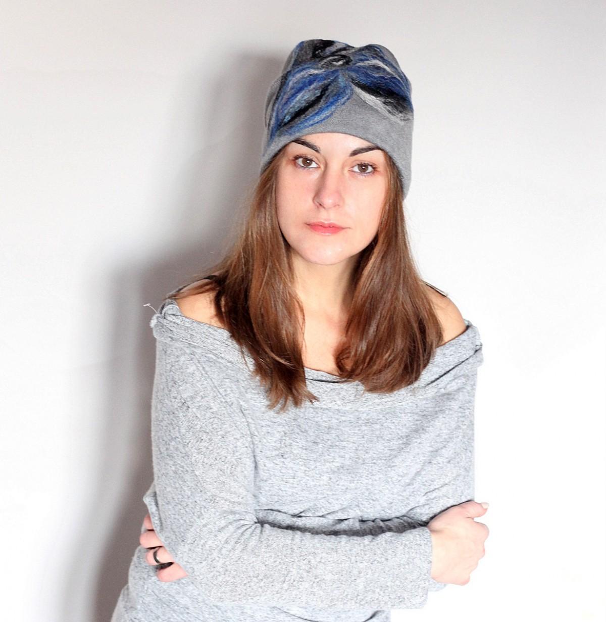 czesanką filcowane czapki handmade wełniane M1