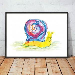 ślimak plakat, ślimak obrazek, grafika do dziecięcego pokoju, ładny plakat dla dzieci