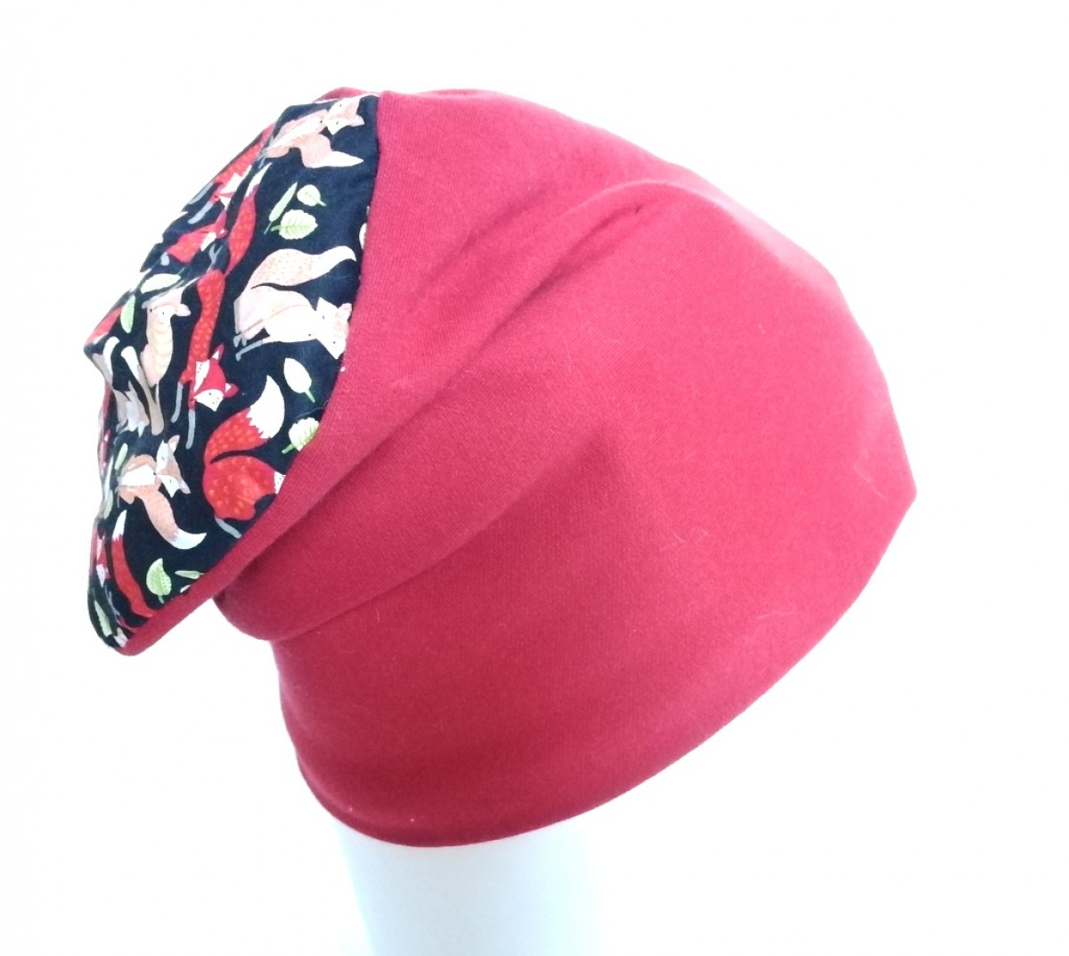 czapka damska dziewczęca dzianina lisek bawełna