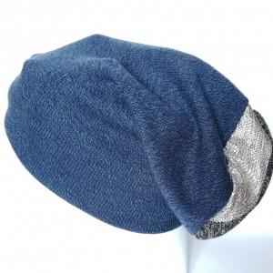 czapka granatowa wełniana góra srebrno-szara