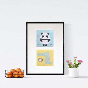 Królewna i królewicz plakat dla dzieci, kolorowy obrazek do dziecięcego pokoju, bajkowy obrazek do pokoju dziecka