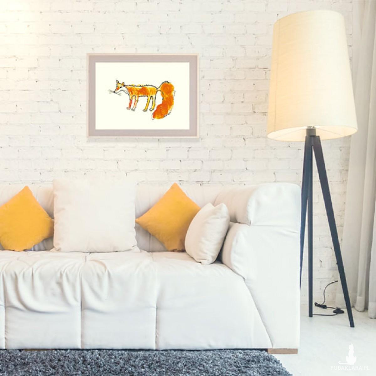 lis plakat na ścianę, lis grafika do pokoju, plakat z liskiem, obrazek z lisem, skandynawski plakat, skandynawska grafika do pokoju