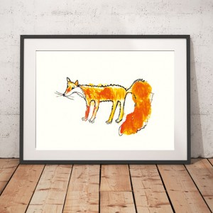 Lisek plakat do dekoracji, rudy lis plakat, plakat z rudym liskiem