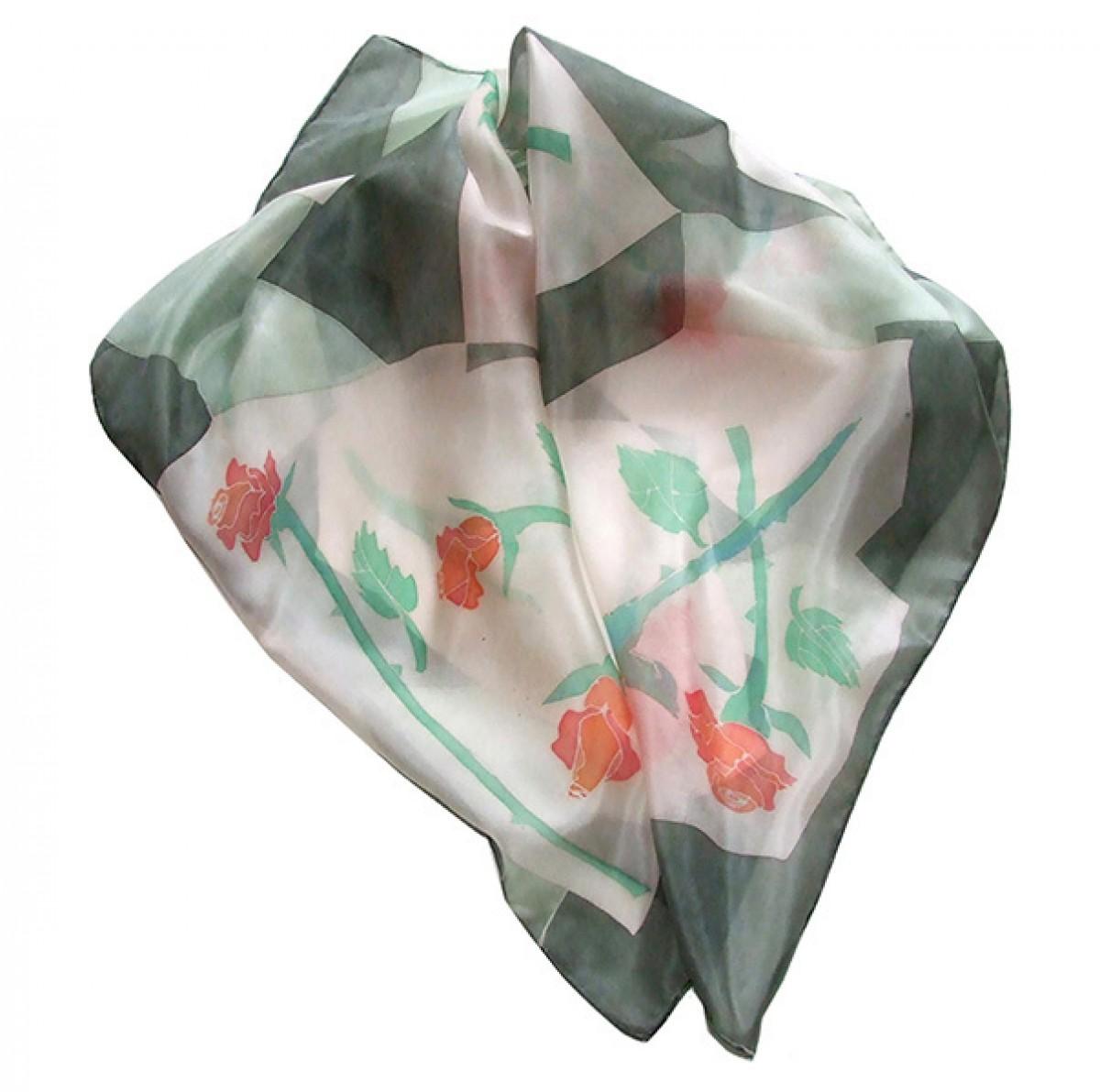 Apaszka jedwabna Róże na geometrycznym tle