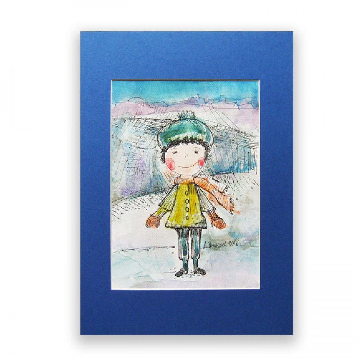 ręcznie malowany obrazek z chłopcem,akwarela do dziecięcego pokoju,rysunek z chłopczykiem