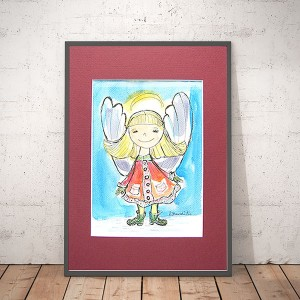 Ładna akwarelka z aniołkiem, obrazek z aniołkiem, ręcznie malowany aniołek
